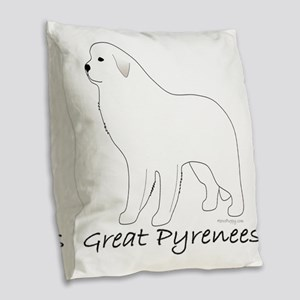GreatPyreneesText Burlap Throw Pillow