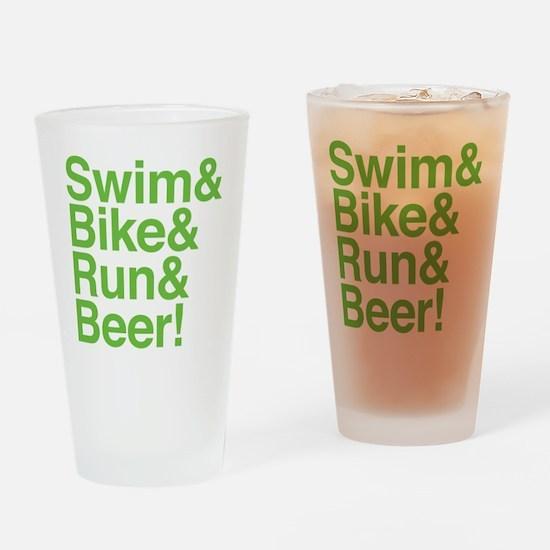 swim-bike-green Drinking Glass