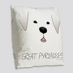 GreatPyreneesFace Burlap Throw Pillow