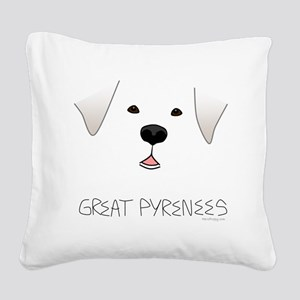 GreatPyreneesFace Square Canvas Pillow