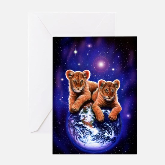 Lion Cubs on Earth Greeting Card