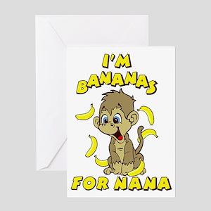 Kids monkey greeting cards cafepress im bananas for nana greeting card m4hsunfo