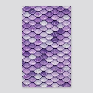 Purple Iridescent Shiny Glitter Mermaid F Area Rug