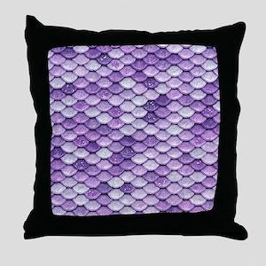 Purple Iridescent Shiny Glitter Merma Throw Pillow