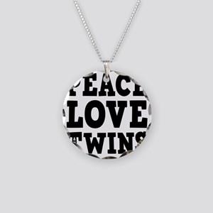 PeaceLoveTwins2 Necklace Circle Charm