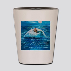 Mermaid floating on a Jellyfish 11x14 4 Shot Glass