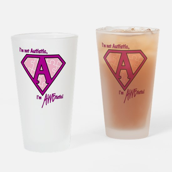 AWEtistic - pink pin Drinking Glass