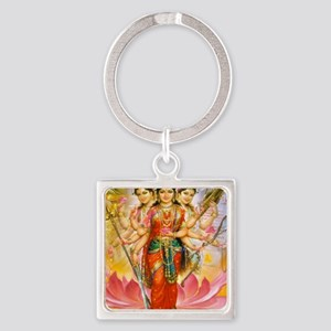 Tridevi_Hindu_Three_Goddesses_Stad Square Keychain