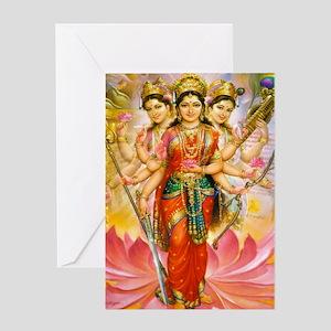 Tridevi_Hindu_Three_Goddesses_Stadiu Greeting Card