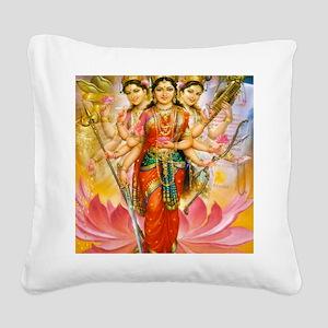 Tridevi_Hindu_Three_Goddesses Square Canvas Pillow