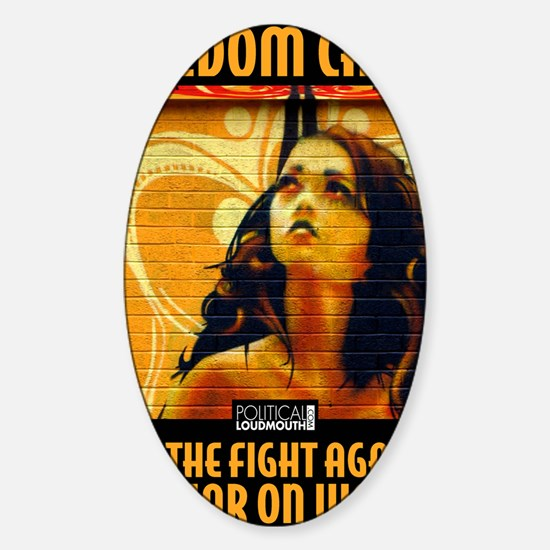 WAR WOMEN FREEDOM CAFE Sticker (Oval)