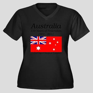 Flag_of_Aust Women's Plus Size Dark V-Neck T-Shirt
