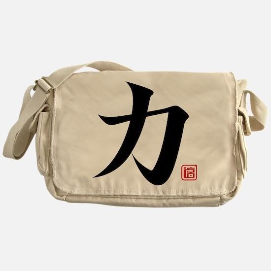 strength kanji asian japanese chines Messenger Bag
