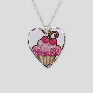 cupcake_cherry_tee Necklace Heart Charm