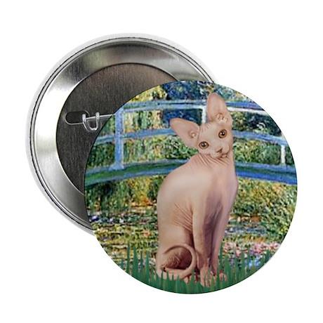 Lily Pond Bridge & Sphynx cat Button