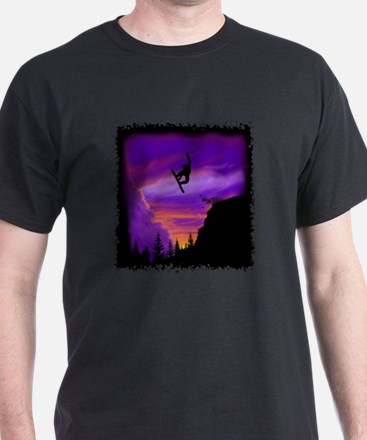 Snowboarder off cliff T-Shirt