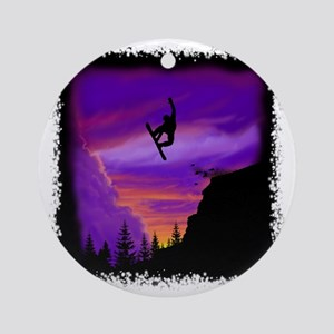 Snowboarder off cliff Round Ornament