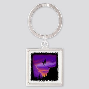 Snowboarder off cliff Square Keychain