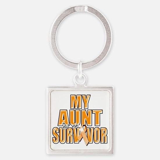 My Aunt is a Survivor (orange) Square Keychain