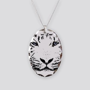 White Tiger for White Necklace Oval Charm