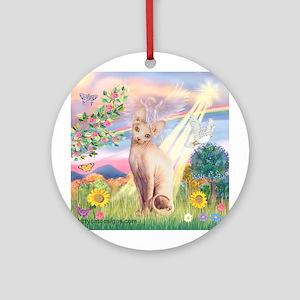 Cloud Angel & Sphnx cat Ornament (Round)
