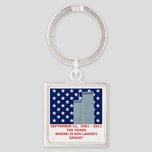 US_NAVAL_JACK_WHERE_IS_BIN_LADEN_W Square Keychain