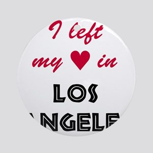 LA_10x10_apparel_LeftHeart_BlackRed Round Ornament