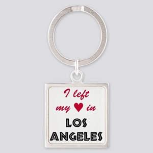LA_10x10_apparel_LeftHeart_BlackRe Square Keychain