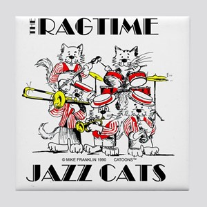 Jazz Cats in color Ragtime II Tile Coaster