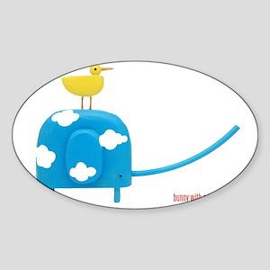 blueskyelephant+bwat Sticker (Oval)