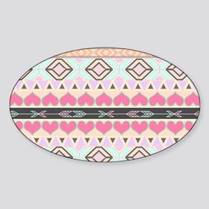 Girly Pastel Andes Abstract Aztec P Sticker (Oval)