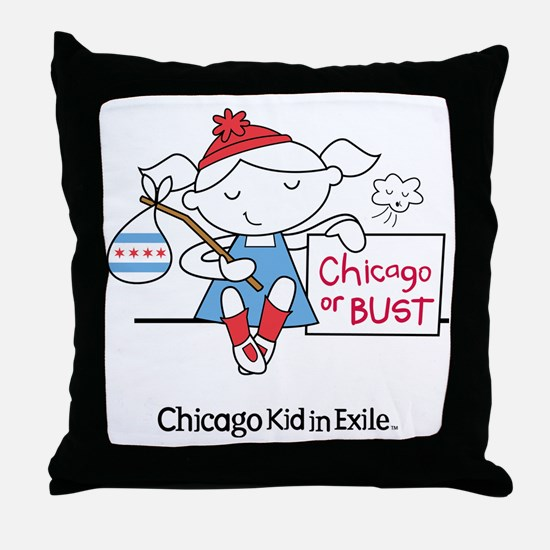 Chicago Kid In Exile (girl) Throw Pillow