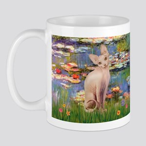 Sphynx cat and lilies. Mug