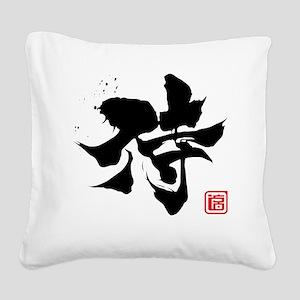 samurai kanji asian japanese  Square Canvas Pillow