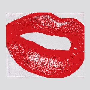 10 X 10 hignm red lips only Throw Blanket
