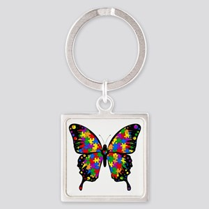 autismbutterfly-transp Square Keychain