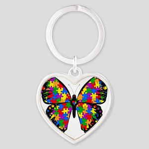 autismbutterfly-transp Heart Keychain