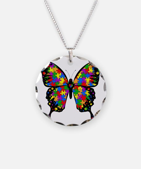 autismbutterfly-transp Necklace Circle Charm