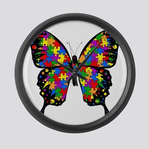 autismbutterfly-transp Large Wall Clock