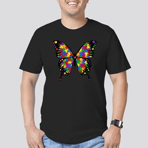 autismbutterfly-transp Men's Fitted T-Shirt (dark)