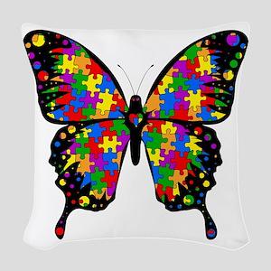 autismbutterfly-transp Woven Throw Pillow
