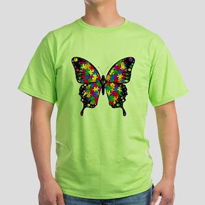 autismbutterfly-transp Green T-Shirt