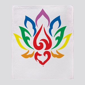 LGBTQ-Lotus-Flower-blk Throw Blanket