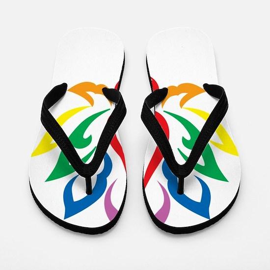 LGBTQ-Lotus-Flower-blk Flip Flops