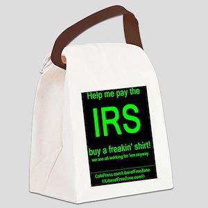 IRS grnOnBlk Canvas Lunch Bag