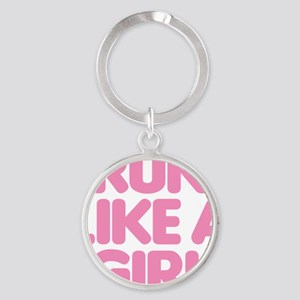 Run Like A Girl Round Keychain