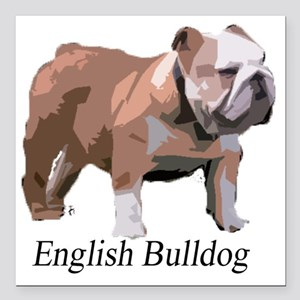 "English Bulldog for Cafe Square Car Magnet 3"" x 3"""