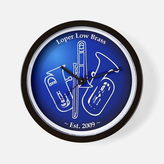 Loper Low Brass Blue Circle Wall Clock