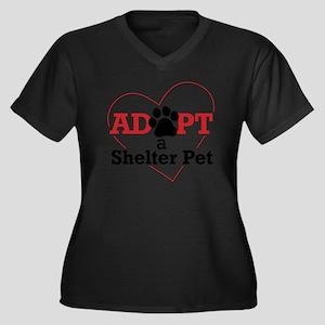 Adopt a Shel Women's Plus Size Dark V-Neck T-Shirt