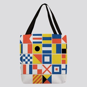 Nautical Flags Polyester Tote Bag